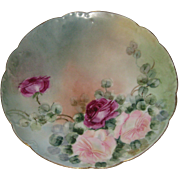 Haviland, France Hand Painted Porcelain Plate with Roses - 8 1/2""