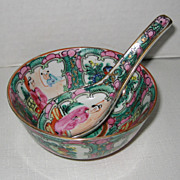 Chinese Export Porcelain Rose Medallion Bowl and Spoon