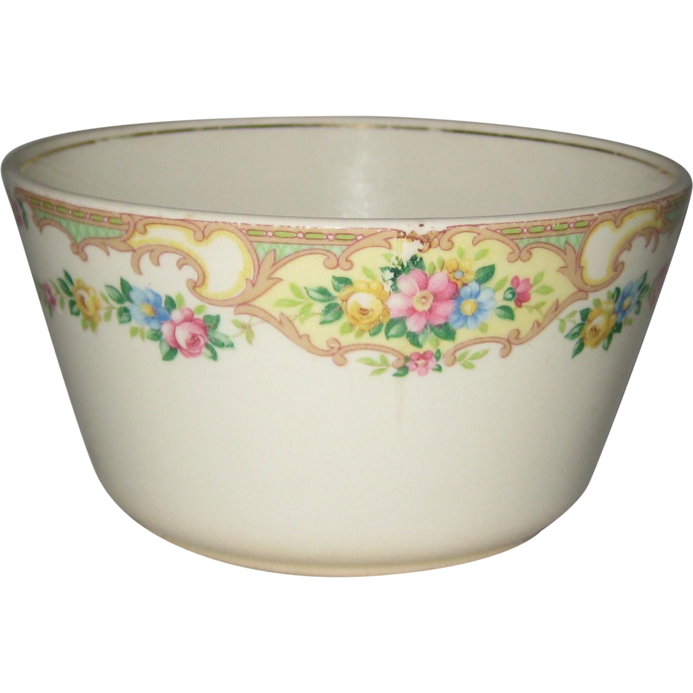 1930's Open Sugar Bowl with Floral Design