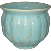 Art Pottery Jardiniere Planter with Heavy Aqua Matte Glaze - Circa 1925