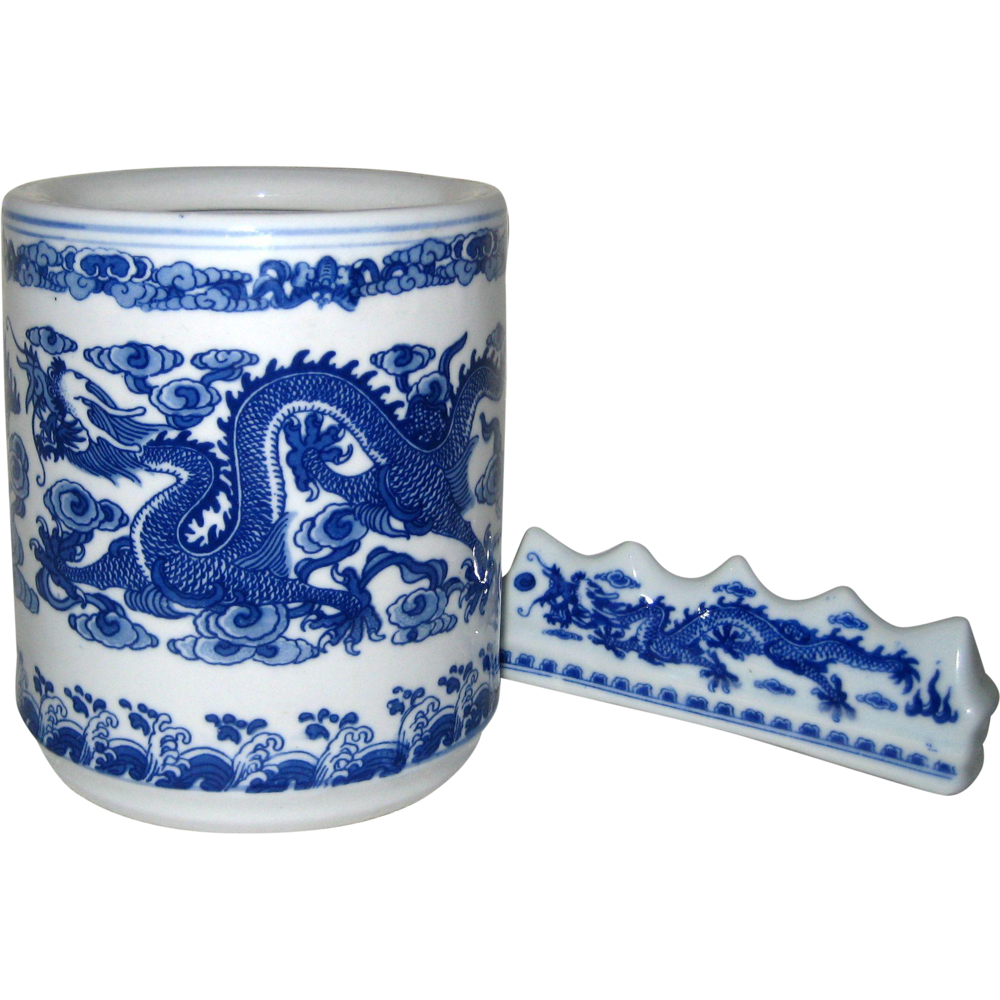 Chinese Porcelain Artist Calligraphy Brush Pot and Brush Rest with Dragon