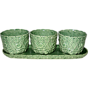 Four Piece Green Majolica Pottery Herb or African Violet Planter - Made in Portugal - Strawberry Lattice Pattern