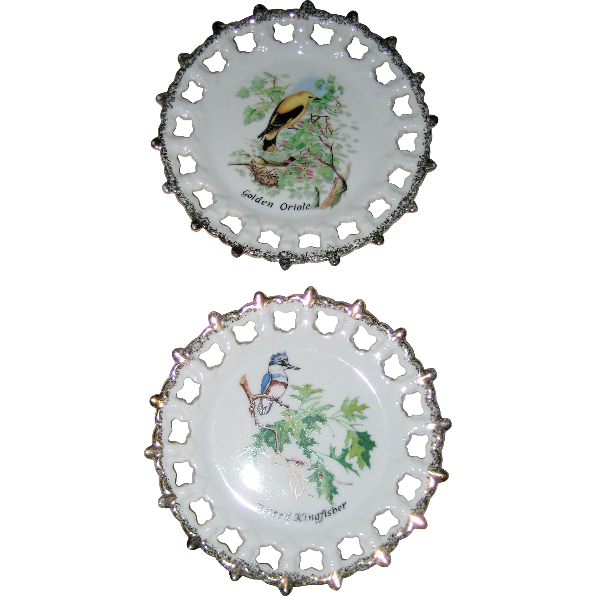 Pair of Enesco Porcelain Bird Plates with Reticulated Edge - Golden Oriole and Belted Kingfisher