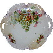 "Hand Painted Porcelain Cake Plate with Grapes - 10"" with Pierced Handles"