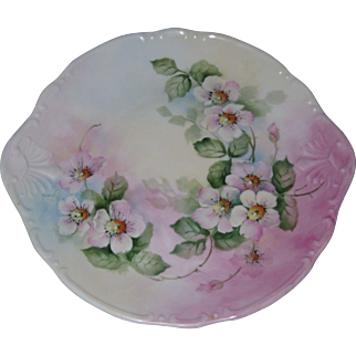 "Hand Painted Porcelain 10 1/2"" Cake Plate with Apple Blossoms - Signed Symmel"