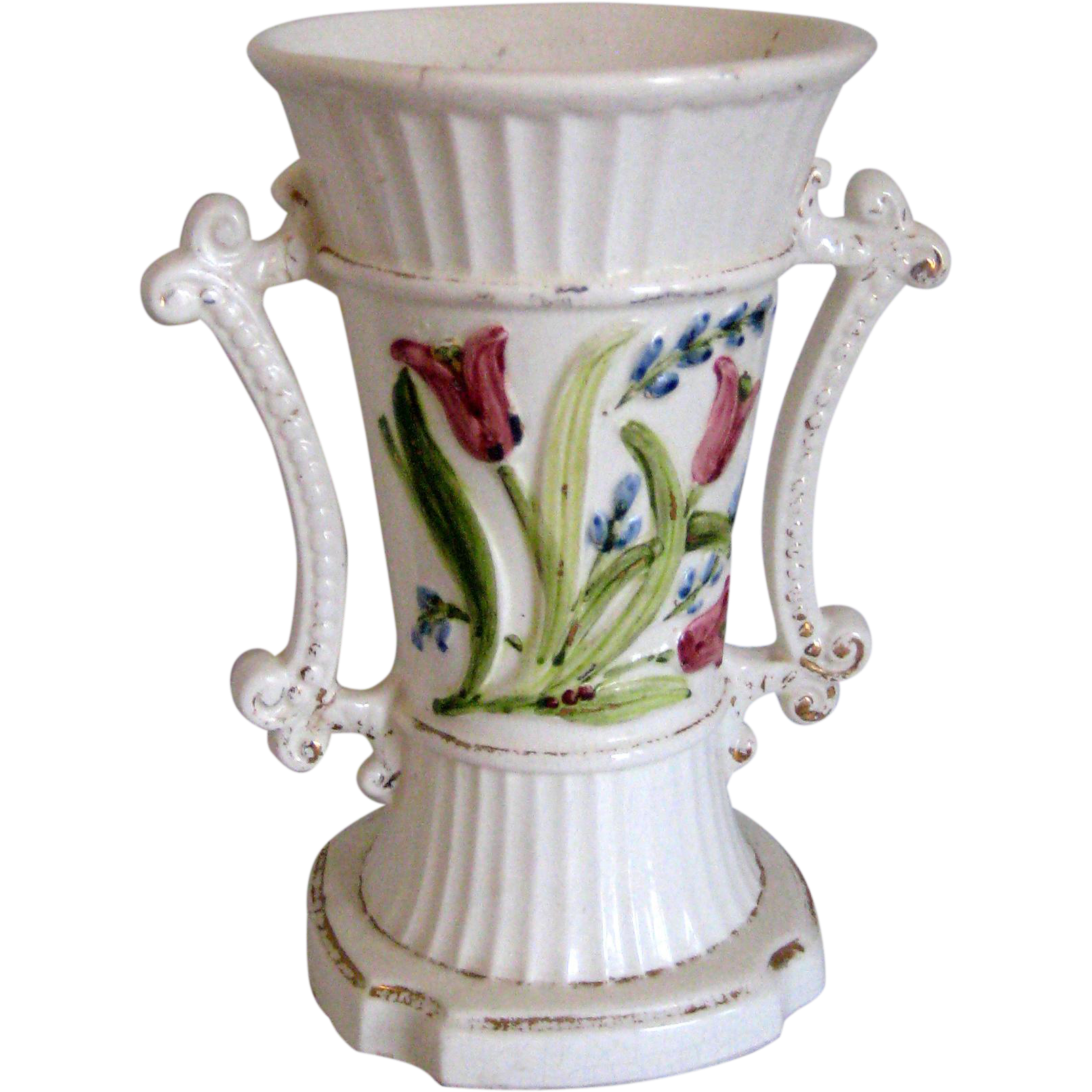 White Pottery Vase or Urn with Tulips - Late Victorian