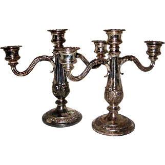 Pair of W. B. Mfg Weidlech Brothers Silverplate Candelabras
