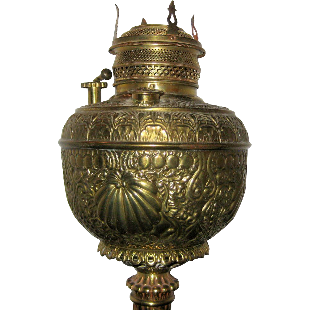 Bradley and Hubbard Embossed Brass Victorian Banquet Lamp with Unusual Wick Raiser - Circa 1885, Electrified