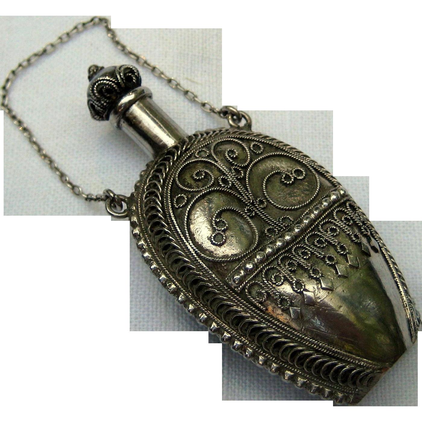 Bezalel 900 Silver Perfume Flask - Made in Palestine Circa 1910 - 1915
