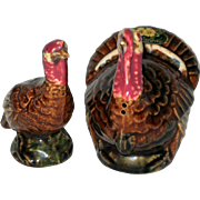 Rosemeade Pottery, North Dakota, Hand Painted Thanksgiving Turkey Salt and Pepper Shakers
