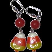 Lampwork Glass Candy Corn Earrings