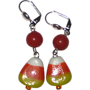 Lamp Work Glass Candy Corn Earrings -  Your Choice of Ear Wires