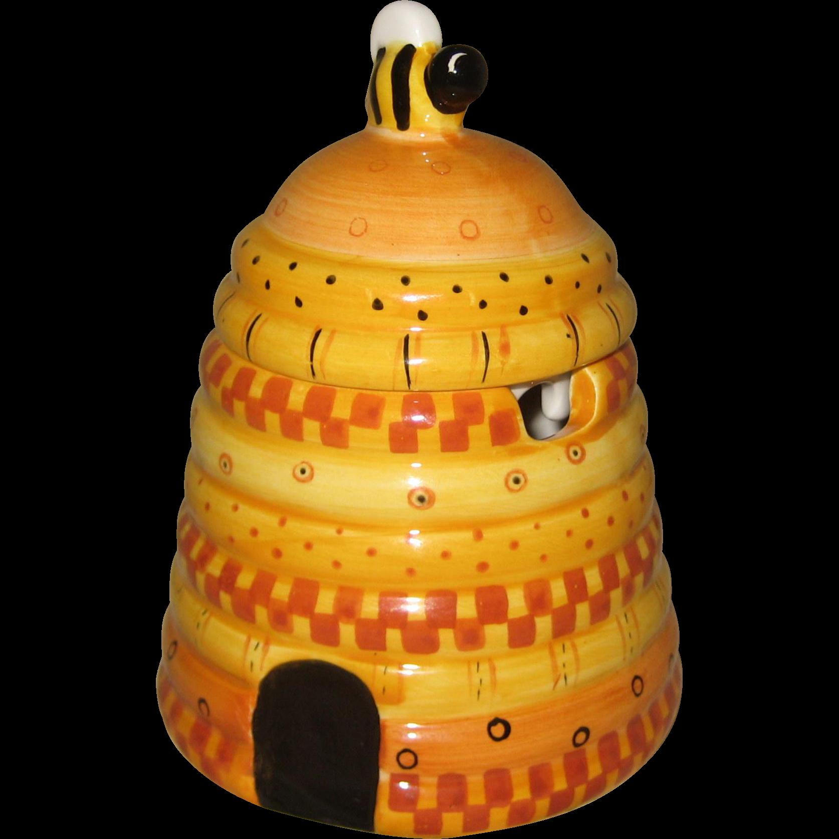 Ceramic Beehive Honey or Jam Jar