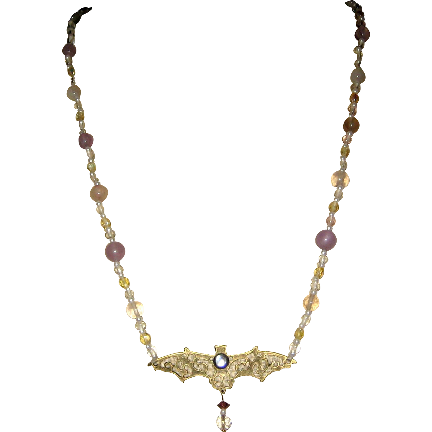 Spectral Bat Halloween Necklace with Fluorite and Crystal Beads