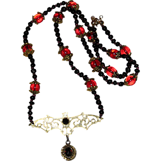 Gothic Black and Blood Red Jeweled Bat Necklace