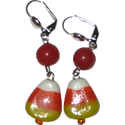 Lampwork Glass Candy Corn Earrings - Orange Beads, Silver plated Wires