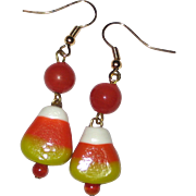 Lampwork Glass Candy Corn Earrings - Orange Beads
