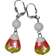 Lampwork Glass Candy Corn Earrings - White Beads