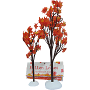 Two Department 56 Autumn Maple Trees for Christmas Village Displays and Extra Packet of Fallen Leaves