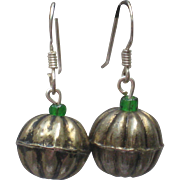 Pumpkin Earring with Sterling Ear Wires