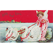Valentine Postcard - Angel and Swans - Unused