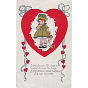 Vintage Valentine Postcard - Lonely Girl - 1918