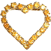 Dark Yellow Rhinestone Heart Pin