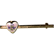 Small Bar Pin with Guilloche Heart Locket