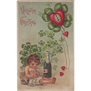 Vintage Valentine Postcard - 1908 - Cupid and Champagne