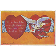 Vintage Valentine Postcard with Dove and Love Letter - 1908
