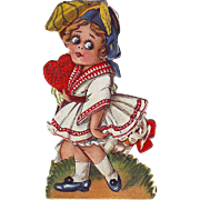 1920's Folding Stand-Up Valentine - Big Eyed Girl