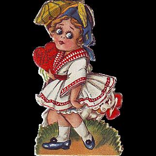 1920's Folding Stand-Up Valentine - Big Eyed Girl