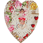 Large Lacy Heart Shaped Valentine circa 1910