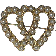 Vintage Double Heart Sweetheart Pin with Faux Pearls