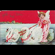 Vintage Valentine Postcard - Angel with Swans - Unused
