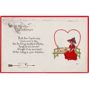 Vintage Valentine Postcard - Lady with a Red Hat and Dress - 1915
