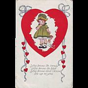 Valentine Postcard - Lonely Girl - 1918