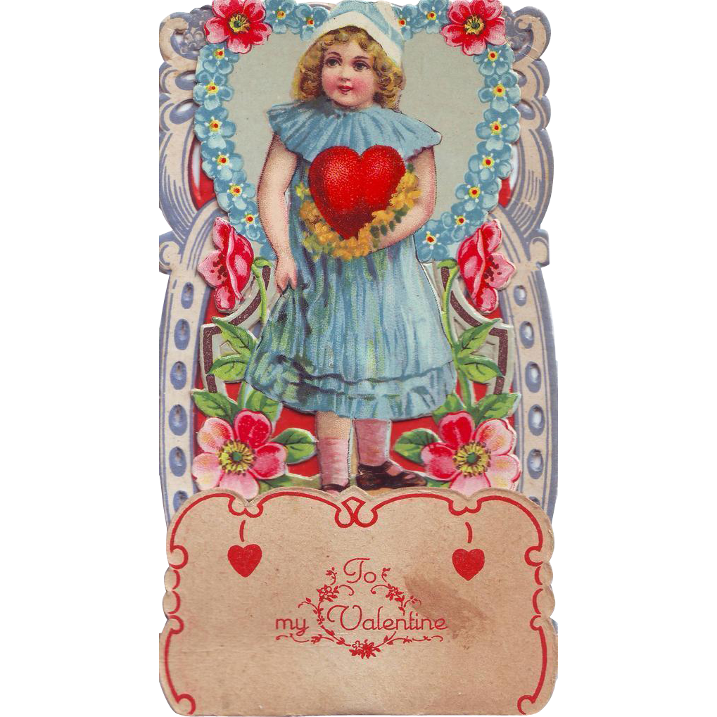 Stand-up German Die-Cut Valentine - Girl in a Blue Dress