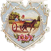 1920's Whitney Paper Valentine - Children in Pony Cart