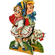 1920's Folding Stand-Up Valentine - Big Eyed Girl, Boy and Dog