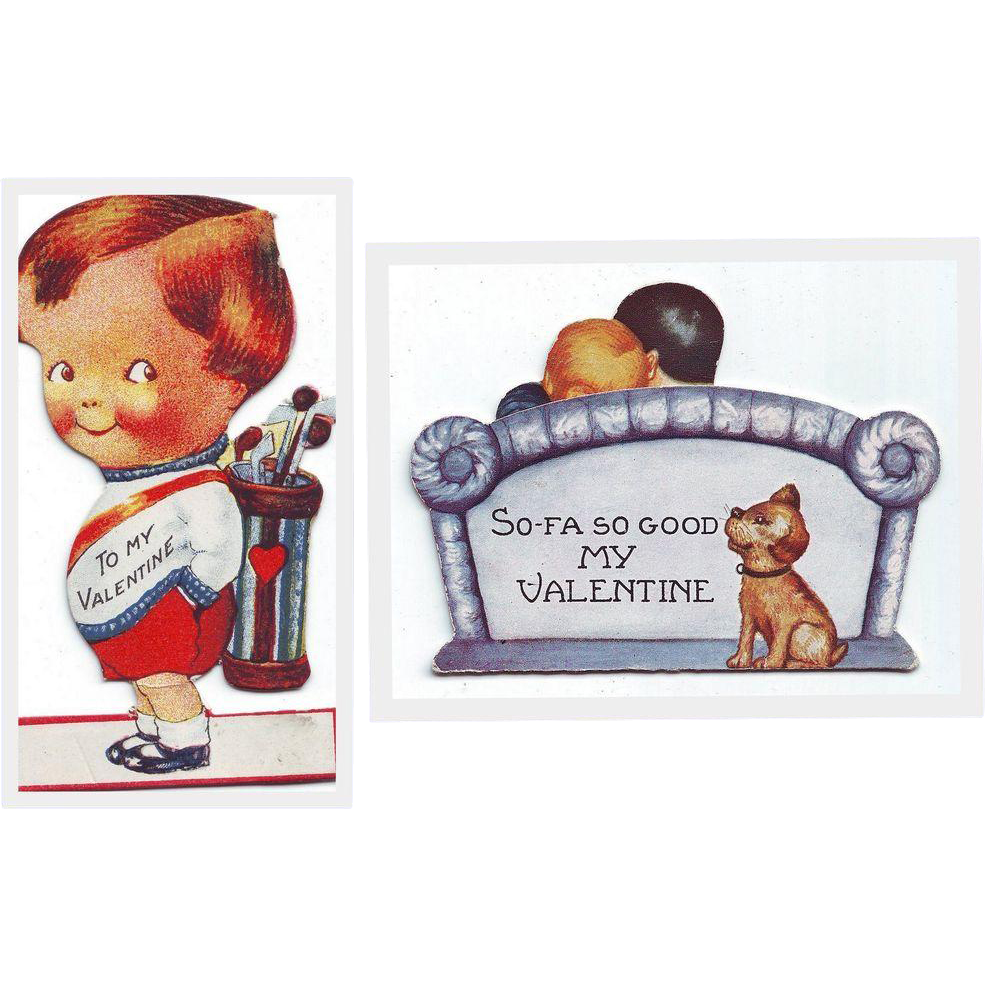 Two Amusing Valentines from the 1920's- Little Golfer and So-Fa, So Good