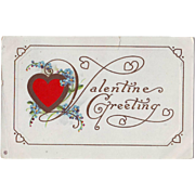 Vintage Valentine Postcard with Forget-me-Nots