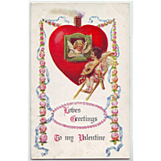 Vintage Valentine Postcard - Angel Serenade - Unused