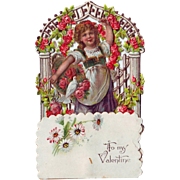 German Honeycomb Die Cut Stand-up Valentine - Girl with Basket of Flowers
