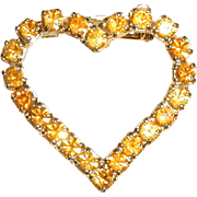 Dark Yellow Rhinestone Valentine Heart Pin