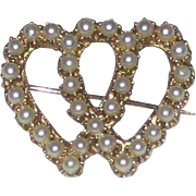 Entwined Hearts Pin - Costume Pearls in a Gold-tone Setting