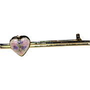 Petite 1940's Bar Pin with Guilloche Heart Locket