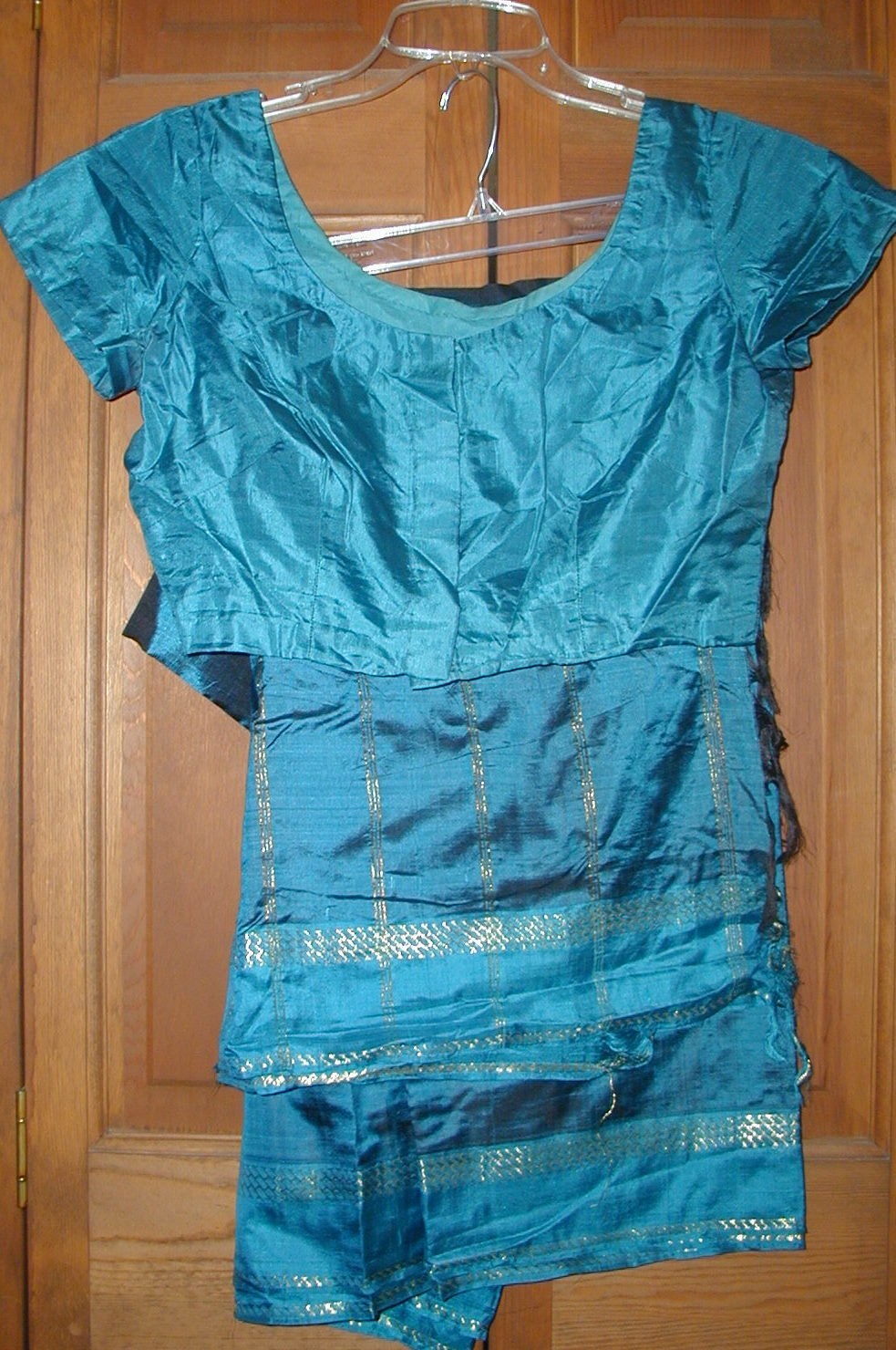 Vintage Teal Silk Sari and Choli