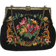 Black Needlepoint Purse with Ornate Frame and Colorful Flowers