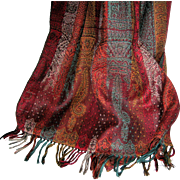 Luxurious and Long 100% Wool Paisley Jacquard Scarf or Shawl